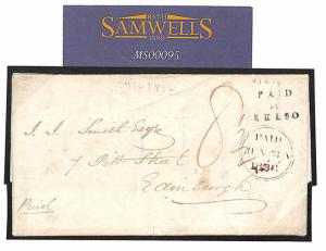 MS95 1836 GB SCOTLAND Roxburghs *Paid at Kelso* Distinctive Postmark Super Cover