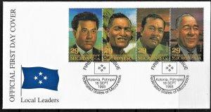 Micronesia 177 strip of 4 FDC
