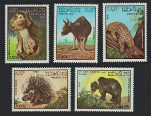 Laos Kouprey Pangolin Macaque Bear Porcupine Mammals 5v SG#832-836 SC#645-649