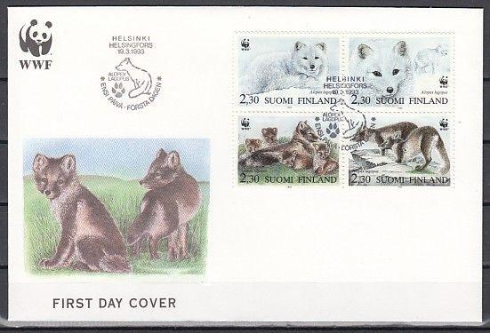 Finlande, Scott Cat. 907 A-D. W.W.F Foxes Issue sur un Premier Jour Officiel