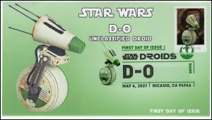 21-103, 2021,Star Wars Droids, D-O, First Day Cover, Digital Color Postmark,