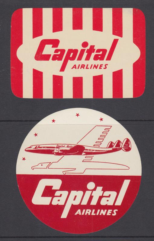 Capital Airlines Labels, 2 different, gummed, fresh, VF