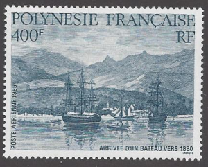French Polynesia #C218, MNH single, arrival of a boat, Issued 1986