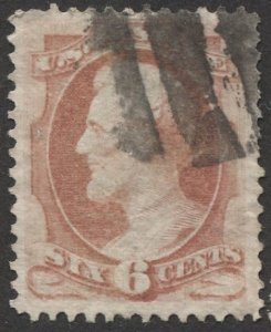 US 1882 Sc 208  6c rose, Lincoln Used black killer cancel, VF