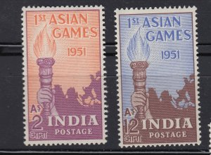 J28332 1951 india set mnh #233-4 sports torch