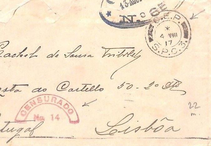 BN26 1917 WW1 Allied Forces PORTUGAL *CEP/SPC3* FPO Cover *CENSURADO 14* Lisbon