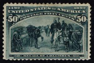 US #240 Recall of Columbus; Unused (425.00) (1Stars)