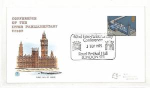 GB FIRST DAY COVER Inter-Parliamentary Union Conference London FDC 1975 AO222
