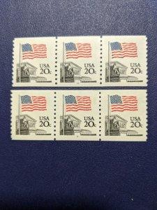 U.S. 1895,5a plt no coil strips of 3, CV $5.75