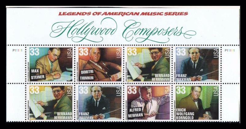 Hollywood Composers 2000 33¢ PLATE BLOCK Of 10 MNH Legends of Music  (pb1l)