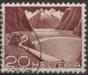 Switzerland 332 (used) 20c reservoir, Grimsel, brn carm (1949)
