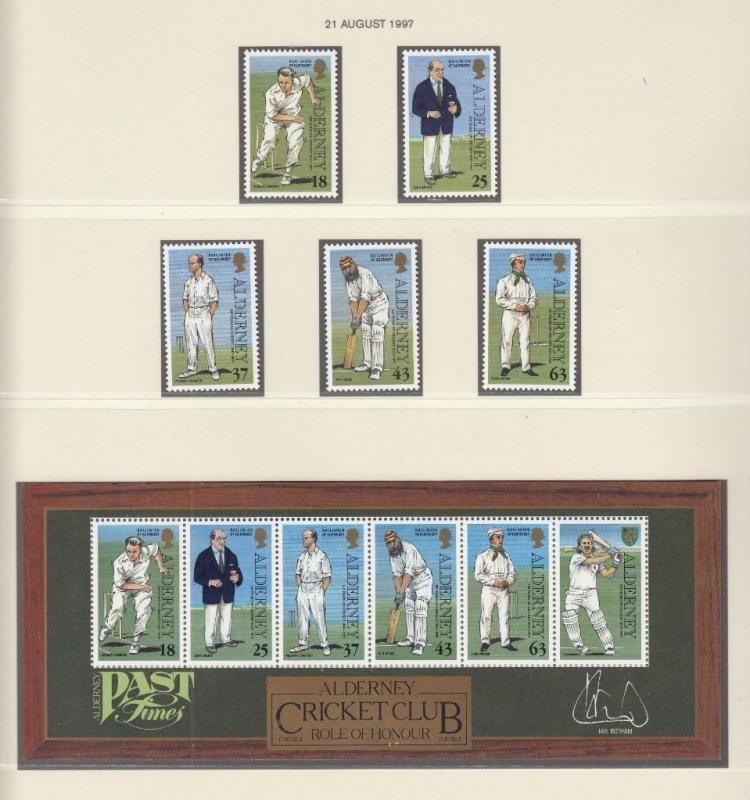 ALDERNEY MNH ROLE OF HONOUR CRICKET CLUB S/SHEET AND SET 1997
