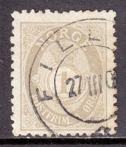 Norway - Scott #47a - P13½ X 12½ - Used - Light toning, pencil/rev. - SCV $35