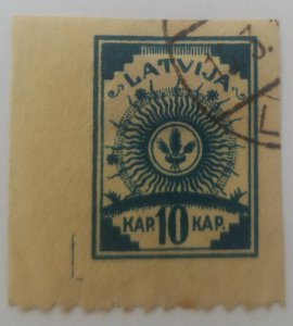 O) 1919 LATVIA, IMPERFORATE, ARMS SC 11  10k ON SIDE PERF.