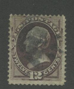 1870 US Stamp #151 12c Used F/VF faded Cancel Catalogue Value $210