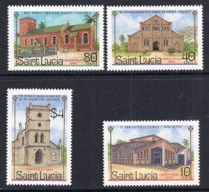 St. Lucia MNH 867-70 Christmas Churches 1986