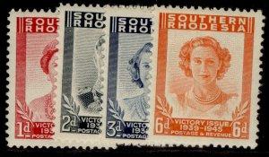 SOUTHERN RHODESIA GVI SG64-67, VICTORY set, NH MINT.