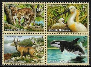 UN, Vienna #272a MNH Block - Endangered Species