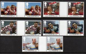 Great Britain Sc 1629-33 1995 Rugby stamp set gutter pairs mint NH