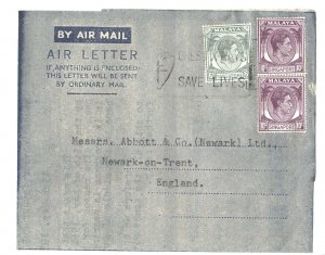 Singapore 1954 Neat airletter to UK frank KG6 2x 10c + 6c, nice typed letter on