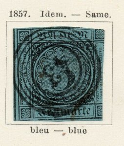 Baden 1857 Early Issue Fine Used 3kr. NW-04553