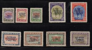 Greenland 1945 DANMARK BEFRIET long stamp set mint