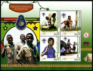 HERRICKSTAMP NEW ISSUES GABON Scouting Sheetlet of 4 Diff.