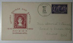 Chicago Womaens Stamp Club Exhibit Chicago IL 1950 Philatelic Expo Cachet Cover