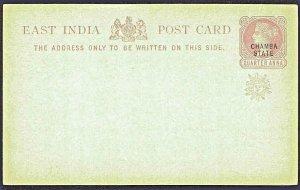 EAST INDIA Post Card  Black Chamba State & Red Sun Overprint ¼ Anna MNH