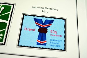 COLOR PRINTED ICELAND 2011-2016 STAMP ALBUM PAGES (29 illustrated pages)