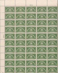 US Stamp - 1940 20c Special Handling - 50 Stamp Sheet VF/XF MNH - Scott #QE3
