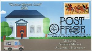 19-071, 2019, Post Office Murals, Pictorial  Postmark, FDC, Kiowas Moving Camp