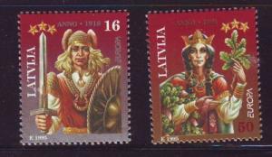 Latvia Sc 407-8 1995 Europa Lacplesis Spoidola stamps NH
