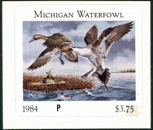 MICHIGAN  #9P  1984 STATE DUCK STAMP PROOF PINTAILS by Paul Bridgford