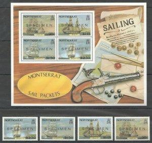 MV MONTSERRAT SAIL PACKETS SAILING SHIPS & GUNS OVERPRINT SPECIMEN KB+SET MNH