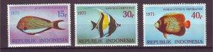J25023 JLstamps 1971 indonesia set mnh #810-12 fish