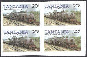Tanzania Sc# 274 MNH Blocks/4 IMPERF (ERROR) 1985 20sh Locomotives