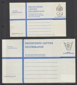 Jersey, 1973-78  Mint Registered Letters, £1 and 68p indicia, 2 different, VF