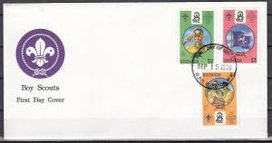 Grenada, Scott cat. 2789-2791. World Scout Jamboree issue. First day cover.