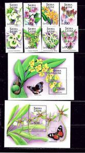 Sierra Leone 1741-50 MNH 1994 Orchids 8 stps 2 S/S