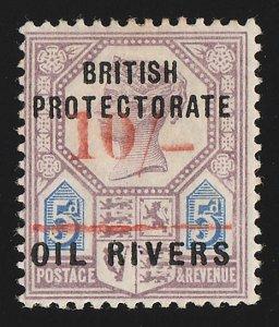 NIGER COAST : 1893 Old Calabar Provisional 10/-. Rare genuine only 32 printed.