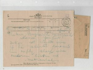 Jaipur 1919 Posts Telegram + Envelope Ref: R7977