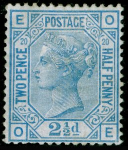 SG142, 2½d blue plate 20, M MINT. Cat £575. OE