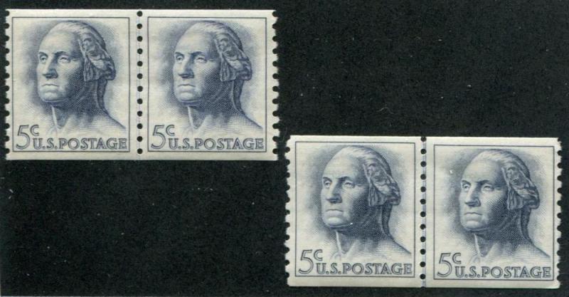 USA SC# 1229 Washington, Coil & Joint Line pairs 5c MNH
