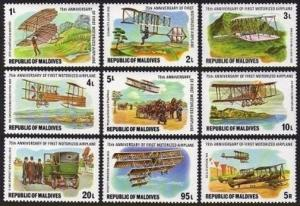 Maldives 719-727,728,MNH.Michel 740-748,Bl.48. Motorized Airplane-75th Ann.1978