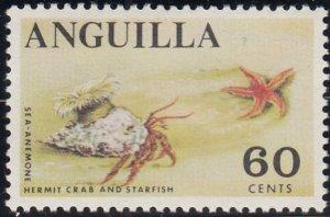 Anguilla 1967-68 MNH Sc #28 60c Sea anemone, Hermit crab, Starfish