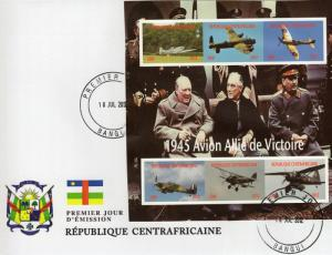 Central African Republic 2012 WWII/CHURCHILL/STALIN/AIRCRAFTS Shlt Imperf.FDC