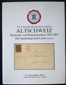 Auction catalogue ALTSCHWEIZ Kantonal- und Bundesmarken 1843-63 Jack Luder