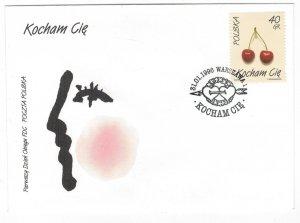 Poland 1996 FDC Stamps Scott 3270 I Love You Fruits Cherries