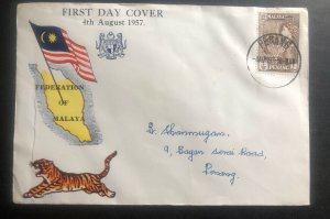 1957 Penang Malaya First Day Cover FDC Federation Day Local Use